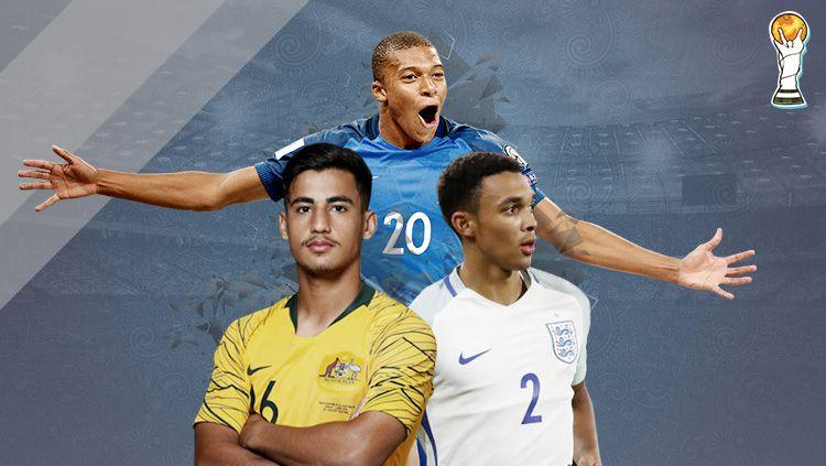 Indosport - Trent Alexander-Arnold, Kylian Mbappe, dan Daniel Arzani.
