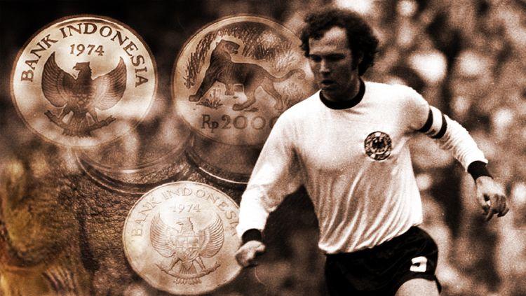Franz Beckenbauer dan koin Indonesia Piala Dunia pada tahun 1974. Copyright: © INDOSPORT