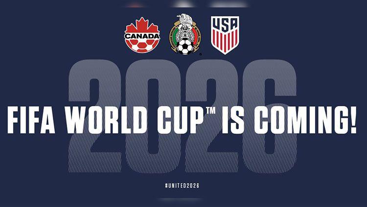 Amerika Serikat, Meksiko dan Kanada terpilih jadi tuan rumah Piala Dunia 2026. Copyright: © Twitter/@united2026