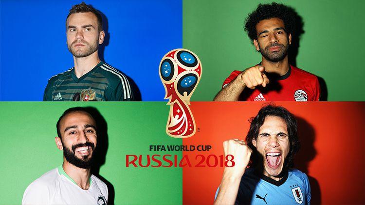 Igor Akinfeev (Rusia), Mohammed Al-Sahlawi (Arab Saudi), Mohamed Salah (Mesir), Edinson Cavani (Uruguay) di Piala Dunia 2018. Copyright: © INDOSPORT
