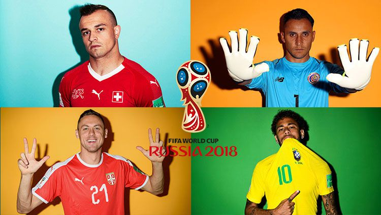 Grup E Piala Dunia 2018: Kosta Rika, Swiss, Serbia, Brasil. Copyright: © INDOSPORT