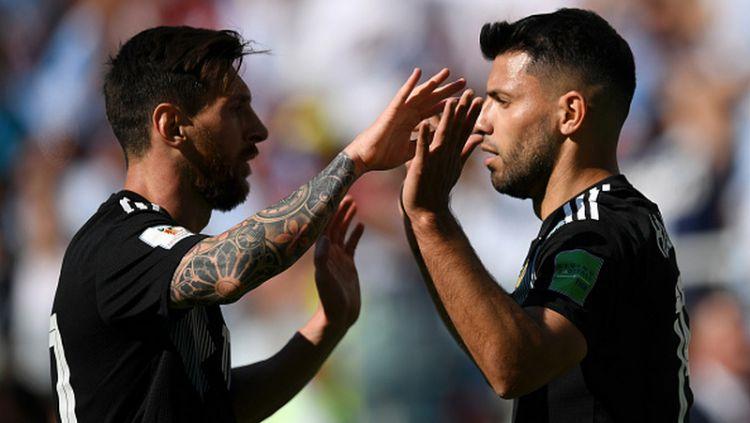 Lionel Messi dan Sergio Aguero di Piala Dunia 2018 Copyright: © Getty Images