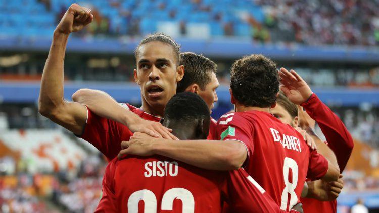 Denmark menjadi tim ke-19 yang dipastikan lolos otomatis ke putaran final Euro 2020, Selasa (19/11/19). Copyright: © Getty Images