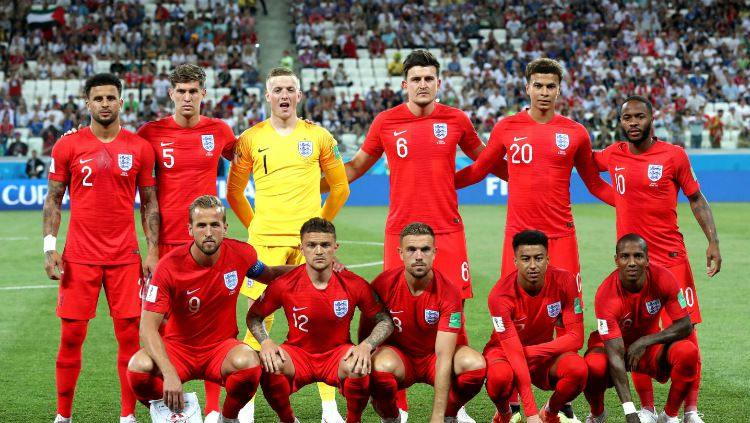 Skuat Inggris berfoto sebelum memainkan laga Grup G Piala Dunia 2018 kontra Tunisia, Selasa (19/06/18). Copyright: © fifa.com