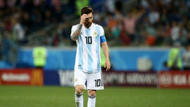 Lionel Messi usai Argentina kalah dari Kroasia di laga Grup D Piala Dunia 2018. Copyright: © fifa.com