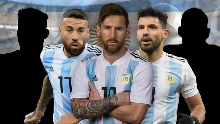 Nicolas Otamendi, Lionel Messi, dan Sergio Aguero termasuk pemain yang harus berhenti dari Timnas. Copyright: © INDOSPORT