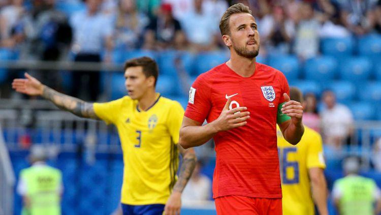 Harry Kane dalam laga Inggris vs Swedia di Piala Dunia 2018. Copyright: © Getty Images