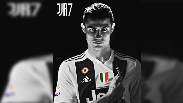 Ilustrasi Cristiano Ronaldo dengan jersey Juventus. Copyright: © Istimewa