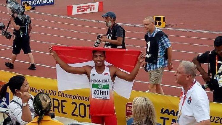 Lalu Muhammad Zohri menjadi juara dunia lari 100 meter putra U-20. Copyright: © IAAF