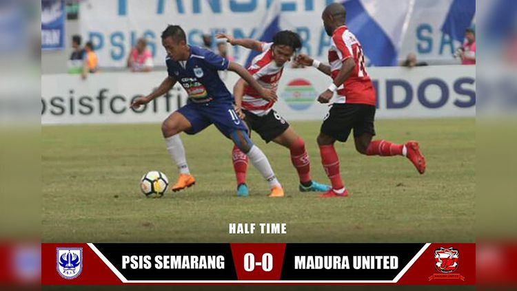 Hasil babak pertama babak pertama PSIS Semarang vs Madura United. Copyright: © maduraunited.fc