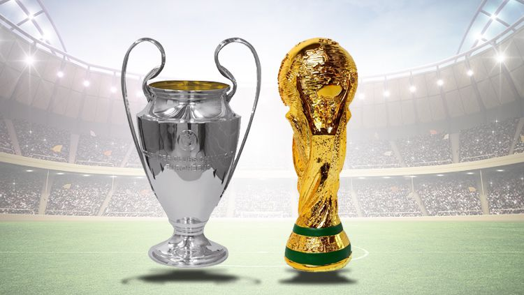 Trofi Liga Champions dan Piala Dunia. Copyright: © INDOSPORT