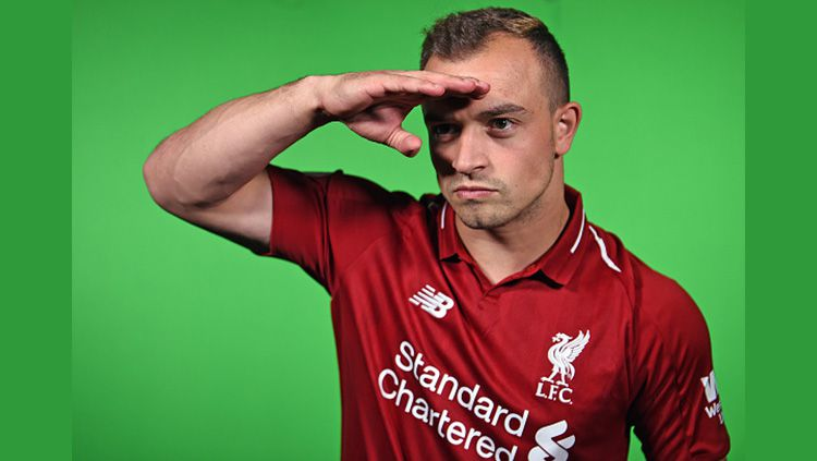 Xherdan Shaqiri bintang rekrutan baru Liverpool. Copyright: © Indosport.com