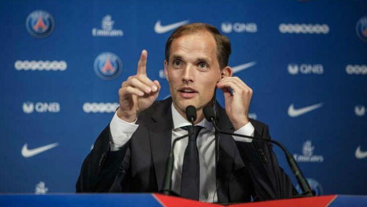 Pasca gagal menjuarai Liga Champions, pelatih Paris Saint-Germain, Thomas Tuchel, menegaskan akan menyambut Lionel Messi. Copyright: © record.pt