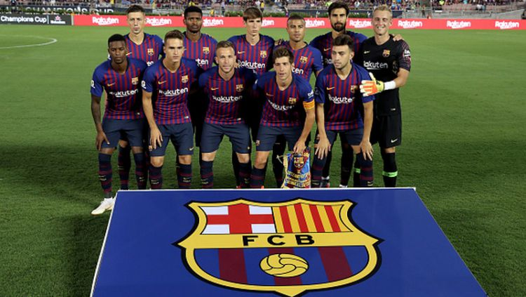 Skuat Barcelona. Copyright: © INDOSPORT