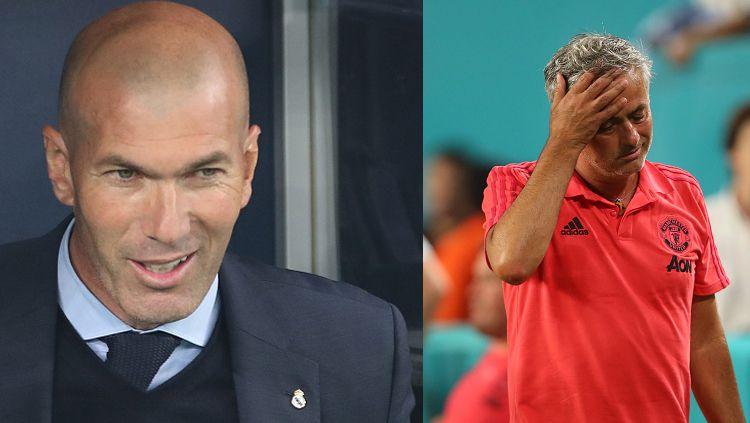 Mantan pelatih Real Madrid, Zinedine Zidane (kiri) dan Jose Mourinho, pelatih Man United. Copyright: © Getty Images