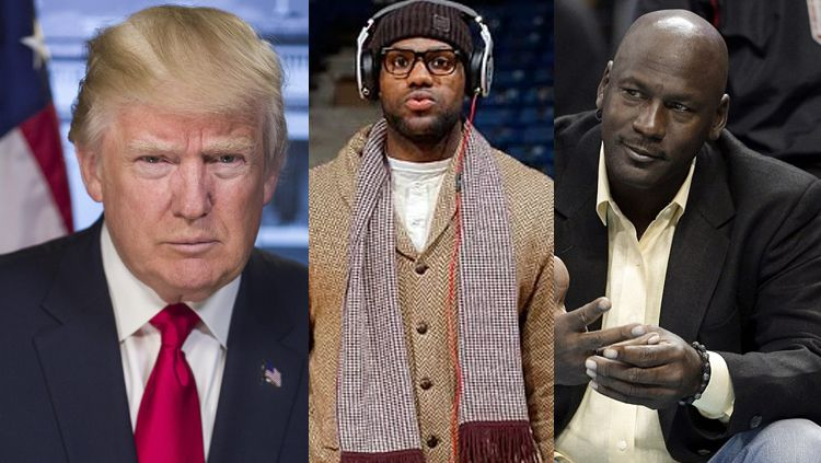 Donald Trump, LeBron James, dan Michael Jordan. Copyright: © INDOSPORT