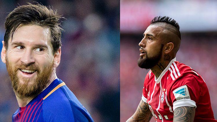 Lionel Messi (kiri) dan Arturo Vidal saat masih di Bayern Munchen. Copyright: © Getty Images
