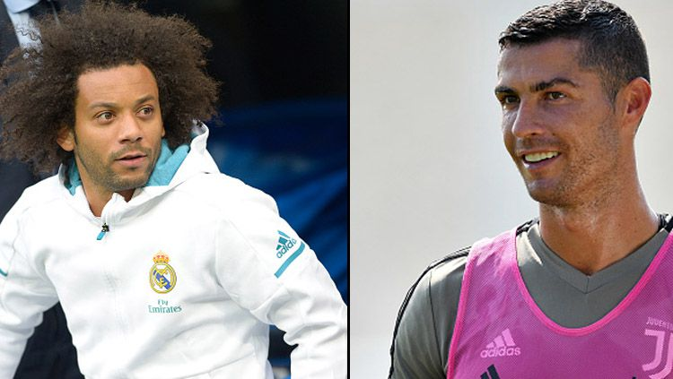 Bek kiri Real Madrid, Marcelo dan Cristiano Ronaldo, pemain megabintang Juventus. Copyright: © Getty Images