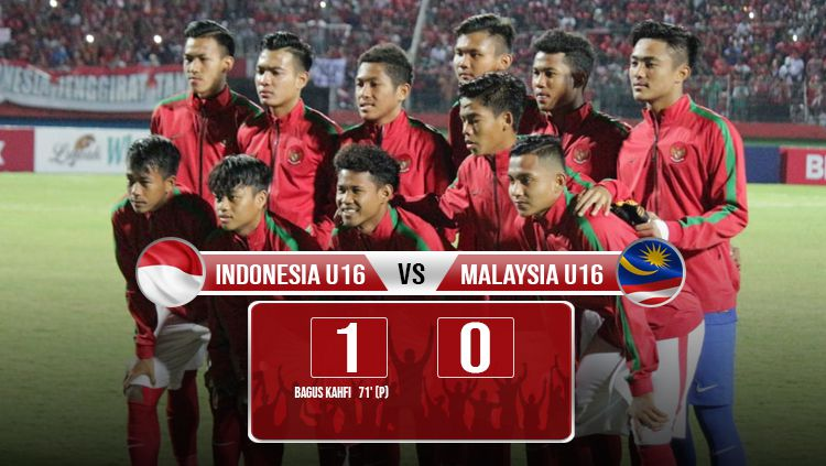 Hasil pertandingan Indonesia U16 vs Malaysia. Copyright: © INDOSPORT