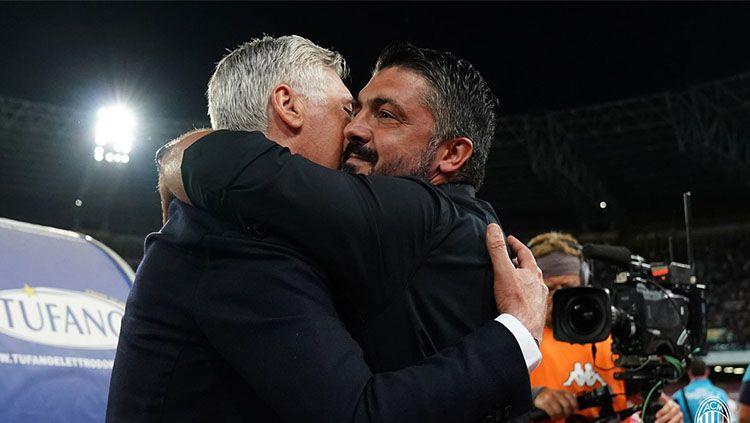 Dua pelatih Serie A Italia, Carlo Ancelotti dan Gennaro Gattuso saat bereuni. Copyright: © Getty Images