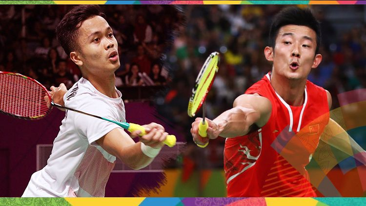 Anthony Sinisuka Ginting dan Chen Long. Copyright: © Getty Images