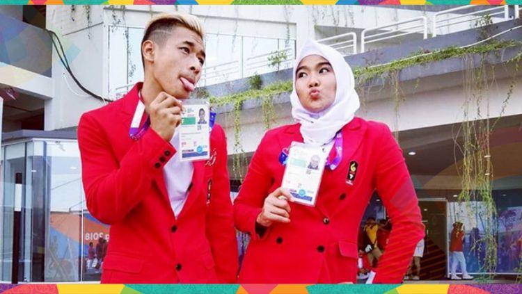 Pasangan atlet pencak silat Indonesia, Hanifan Yudani dan Pipiet Kamelia. Copyright: © Instagram@ hanifan_yk