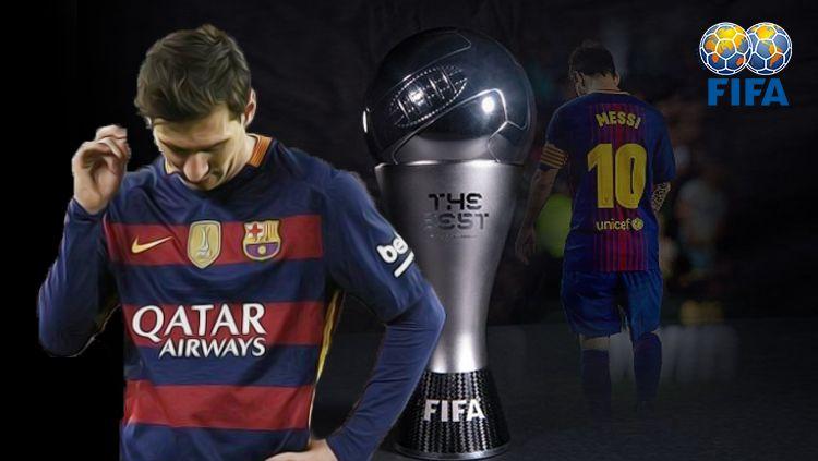 Lionel Messi tidak termasuk dalam daftar pemain terbaik versi FIFA. Copyright: © Eli Suhaeli/INDOSPORT