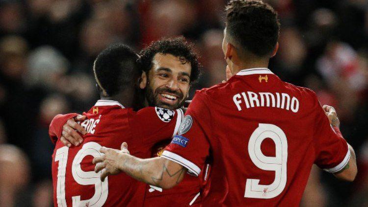 Trio andalan Liverpool: Roberto Firmino, Sadio Mane, dan Mohamed Salah. Copyright: © REUTERS