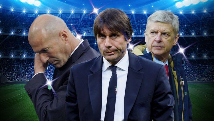 Kiri-kanan: Zinedine Zidane, Antonio Conte, Arsene Wenger. Copyright: © INDOSPORT