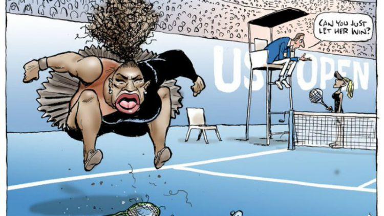 Aksi protes Serena Williams dijadikan kartun. Copyright: © Twitter Marc Knights