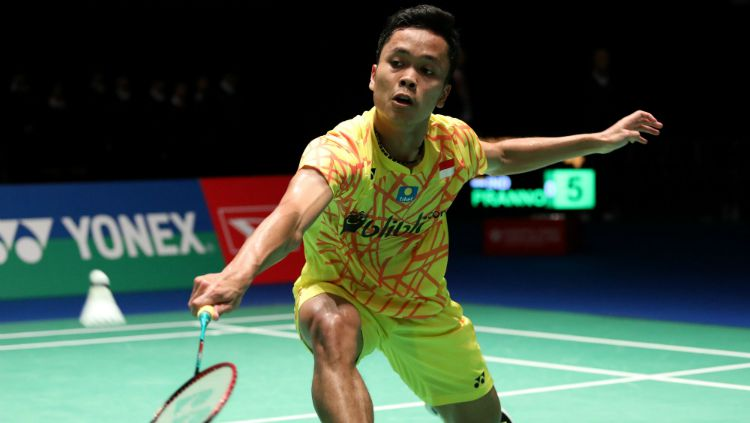 Anthony Sinisuka Ginting di Japan Open 2018. Copyright: © Humas PBSI