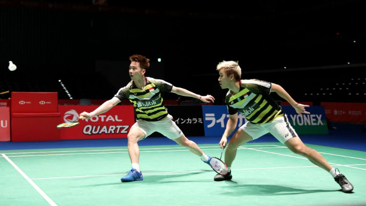 Kevin Sanjaya/Marcus Gideon gagal melangkah ke final China Open 2018. Copyright: © Humas PBSI