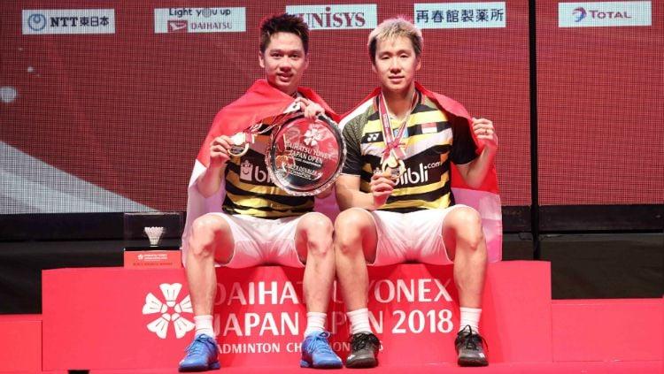 Kevin Sanjaya/Marcus Gideon juara di Japan Open 2018. Copyright: © Humas PBSI