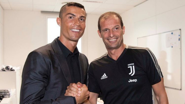 Cristiano Ronaldo dan Max Allegri Copyright: © Indosport.com