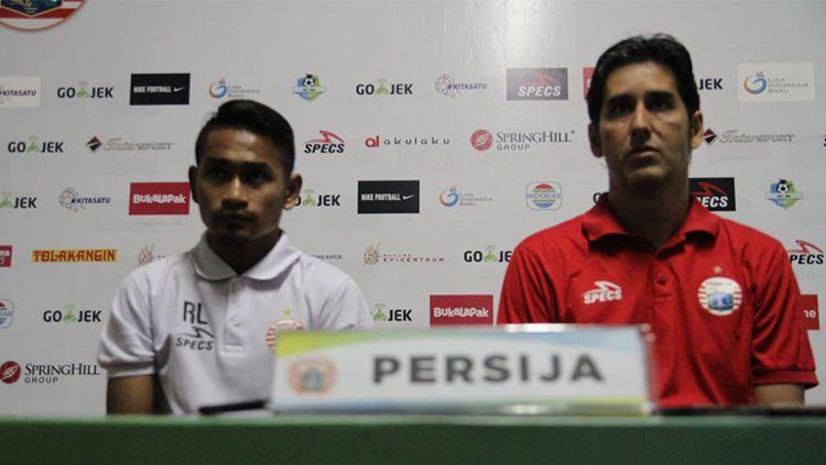 Ramdani Lestaluhu dan Stefano Cugura Teco di konferensi pers usai laga melawan PSIS Semarang. Copyright: © Media Persija