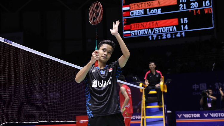 Anthony Sinisuka Ginting di China Open 2018. Copyright: © Humas PBSI