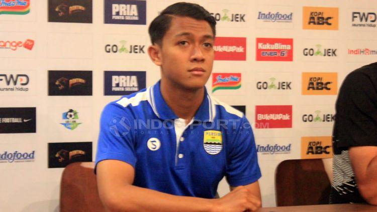 Febri Haryadi (Persib Bandung) saat konferensi pers jelang laga Persib Bandung vs Persija Jakarta. Copyright: © Arif Rahman/Indosport.com