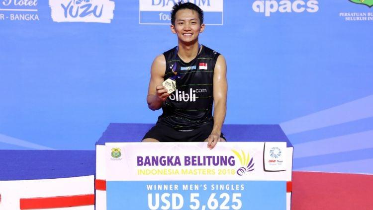 Ihsan Maulana Mustofa juara Indonesia Masters 2018 Super 100. Copyright: © Humas PBSI