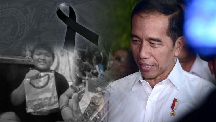 Presiden Indonesia, Joko Widodo turut berduka cita atas meninggalnya Jakmania. Copyright: © INDOSPORT/Joko Widodo