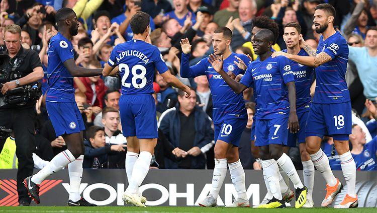 Selebrasi pemain Chelsea usai membobol gawang lawan. Copyright: © Getty Images