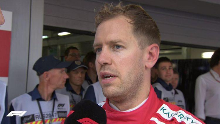 Sebastian Vettel hanya mampu menempati posisi ketiga di Formula 1 Rusia. Copyright: © Getty Images