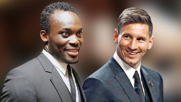 Michael Essien dan Lionel Messi Copyright: © INDOSPORT