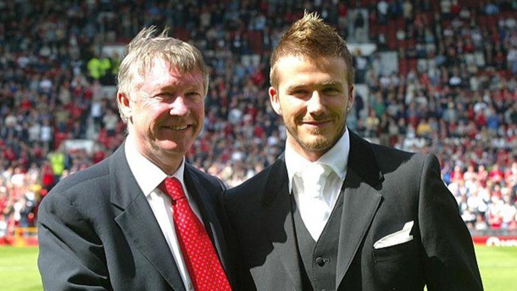 Sir Alex Ferguson dan David Beckham, 2 sosok legenda Manchester United. Copyright: © Getty Images