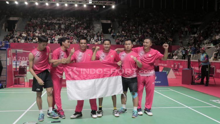 Final beregu bulutangkis Indonesia vs Malaysia Asian Para Games 2018. Copyright: © Roihan Susilo Utomo/Indosport.com