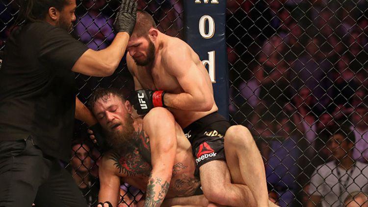 Khabib Nurmagomedov dan Conor McGregor, dua petarung MMA yang masih terus berseteru hingga sekarang. Copyright: © Getty Images