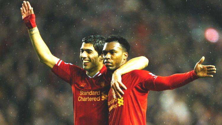 Luis Suarez dan Daniel Sturridge saat keduanya membela Liverpool. Copyright: © Getty Images