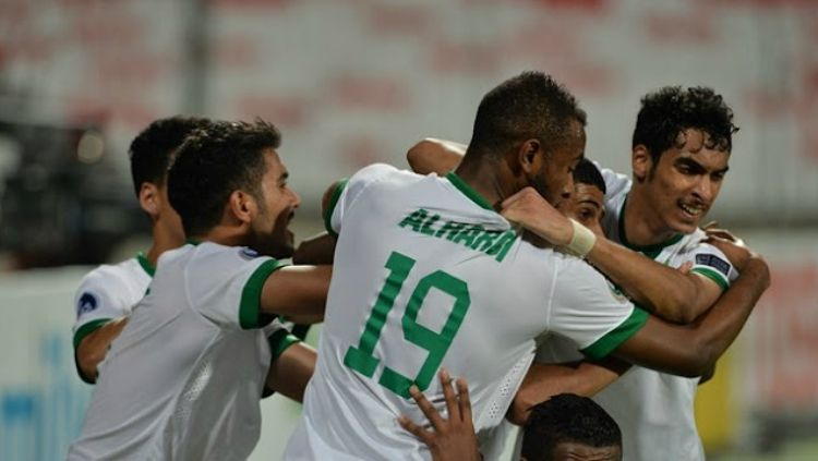 Selebrasi para pemain Arab Saudi U-19 di kualifikasi Piala Asia U-19 2018. Copyright: © Internet