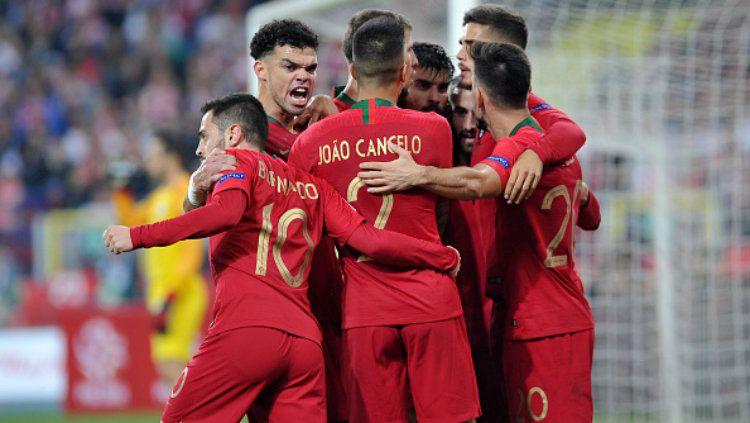 Selebrasi para pemain Portugal. Copyright: © Getty Images