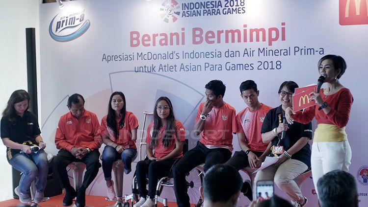 McDonald's berikan apresiasi terhadap atlet para renang Indonesia di Asian Para Games 2018, Rabu (17/10/18). Copyright: © Ridi F Khan/INDOSPORT