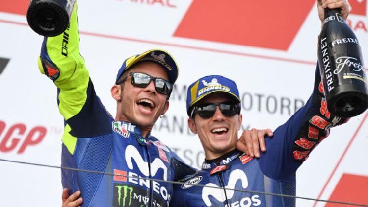 Dua pembalap MotoGP Valentino Rossi dan Maverick Vinales. Copyright: © Getty Images